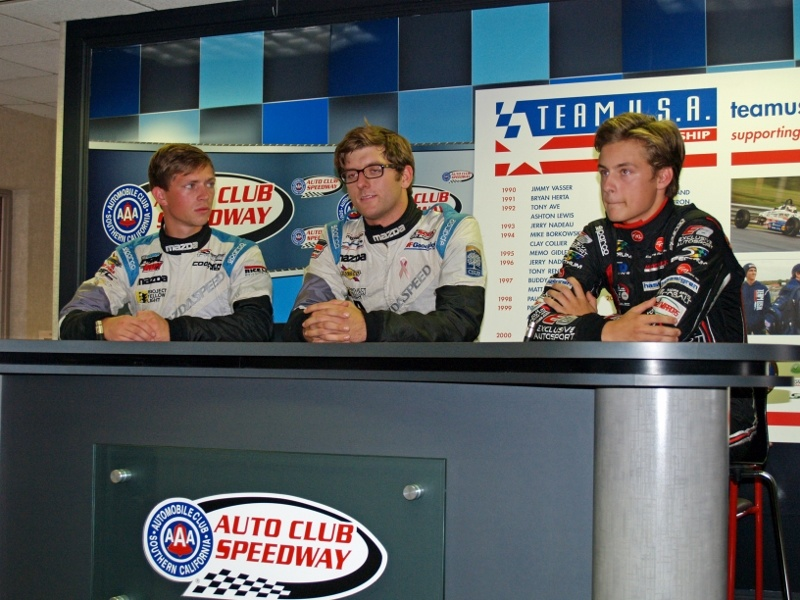 Aaron Telitz, Kenton Koch and Tristan DeGrand met the press at Auto Club Speedway on Monday.