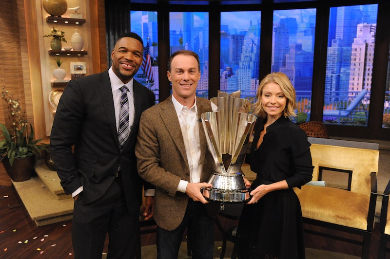 "Kelly Ripa and Michael Strahan talk with Kevin Harvick during the production of ""LIVE with Kelly and Michael"" in New York on Tuesday, Nov. 18, 2014. Photo: David M. Russell/Disney-ABC Domestic TV"