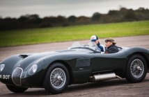 Jodie Kidd drives the C-type at the newly launched Jaguar Heritage Driving Experience day