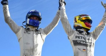 David Coulthard and Pascal Wehrlein celebrate afte