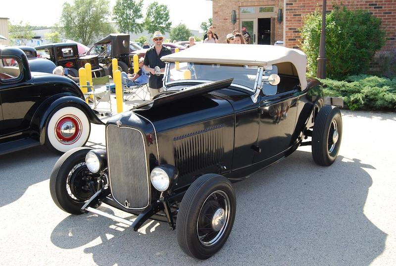 They don't get much more traditional than this shiny black, fenderless '32 Ford roadster.