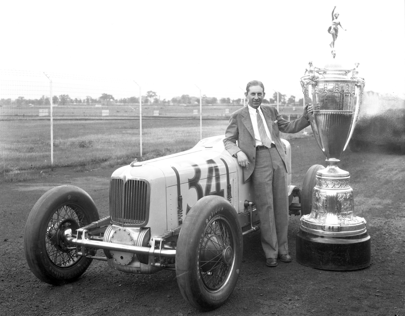 1932, Harry Hartz with the Wheeler Schebler trophy.