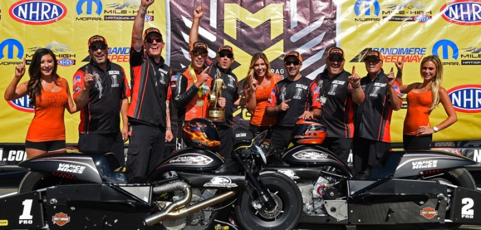 Harley-Davidson V-Rod Rider Andrew Hines Has Clean Sweep in Denver